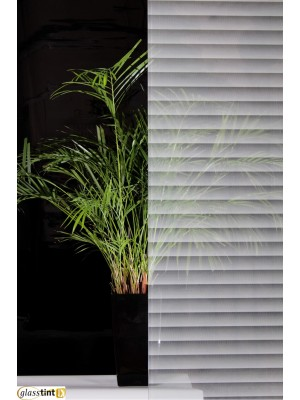 TRANSPARENT SCREENED WHITE STRIPES Designer & PatternedGlassTint Direct